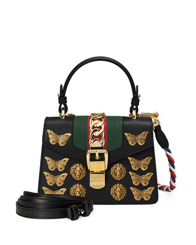 Sylvie Small Top-Handle Satchel Bag with Animal Embellishments