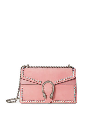 Small Dionysus Crystal Embellished Suede Shoulder Bag - Pink