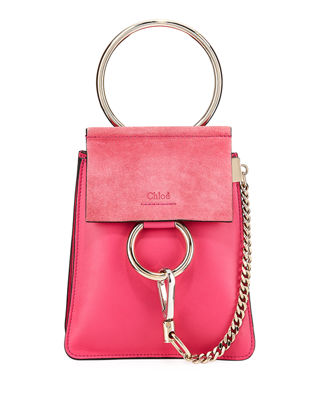 Faye Small Leather Bracelet Bag, Fuchsia