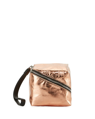 Metallic Leather Mini Cube Wristlet Bag