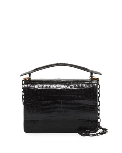 Crocodile Top-Handle Bag w/Chain Strap