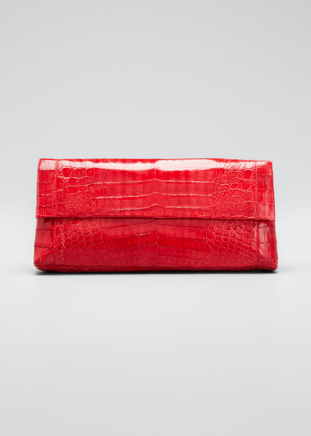 Nancy Gonzalez Pouches GOTHAM CROCODILE FLAP CLUTCH BAG