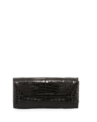 Patent Crocodile Pull Through Clutch Bag by Nancy Gonzalez