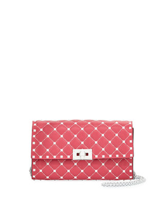 Free Rockstud Spike Small Belt Bag in Shadow Pink Nappa Leather Valentino
