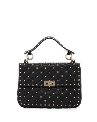 Rockstud Spike Medium Shoulder Bag in White and Black Calf Valentino