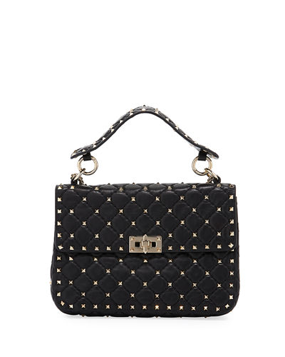 Rockstud Spike Medium Shoulder Bag in White and Black Calf Valentino DbKfk