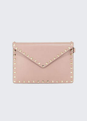 Rockstud Medium Leather Flat Clutch Bag in Beige