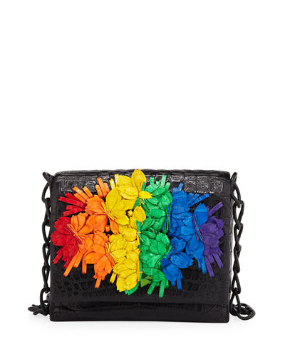 Floral Rainbow Crocodile Crossbody Bag