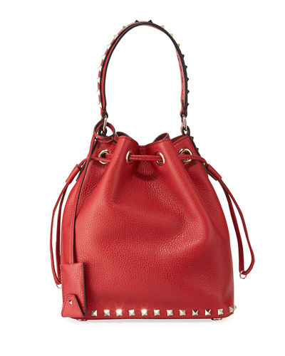 Rockstud Small Leather Bucket Bag