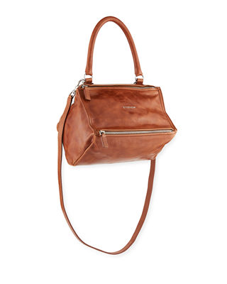 Pandora Small Shiny Aged Leather Satchel Bag in Brown