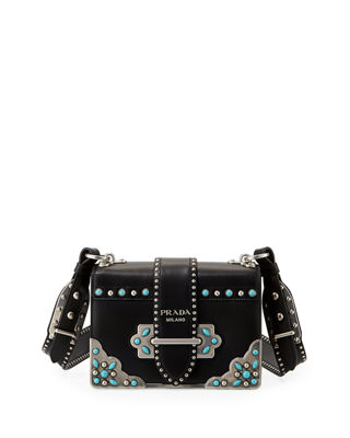 Embellished Leather Crossbody Bag, Black