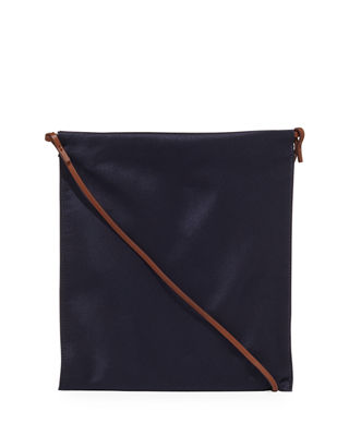 Large Leather Medicine Crossbody Pouch in Navy