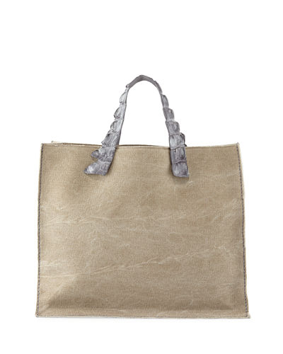 Nina Canvas & Crocodile Tote Bag
