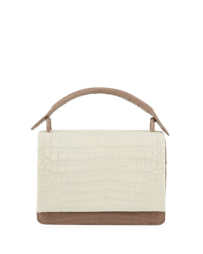 Bicolor Crocodile Flap-Top Bag
