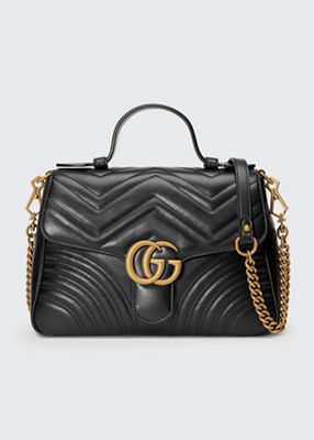 Gg Marmont Small Chevron Quilted Top-Handle Bag With Chain Strap in Black