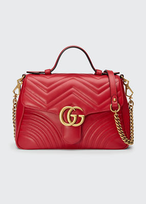 Gg Marmont Small Chevron Quilted Top-Handle Bag With Chain Strap in Red