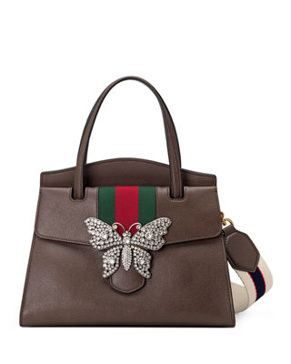 Linea Totem Medium Leather Top-Handle Bag With Butterfly & Web Strap, Dark Brown