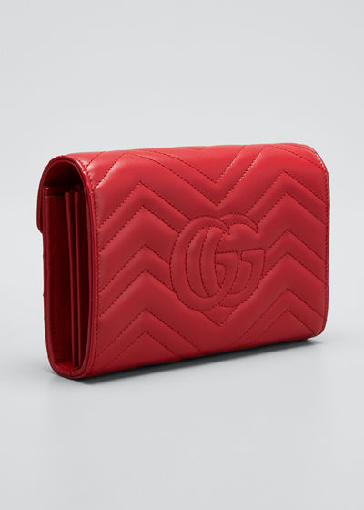 c63f53289fb Gucci GG Marmont Chevron Quilted Leather Flap Wallet on a Chain