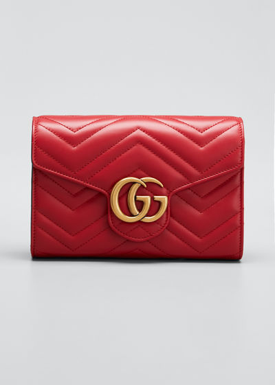 15badaa5ed66 GG Marmont Chevron Quilted Leather Flap Wallet on a Chain Quick Look. RED;  BLACK. Gucci