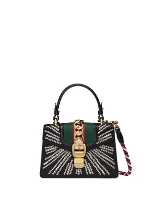 Mini Sylvie Crystal Burst Top Handle Leather Shoulder Bag - Black