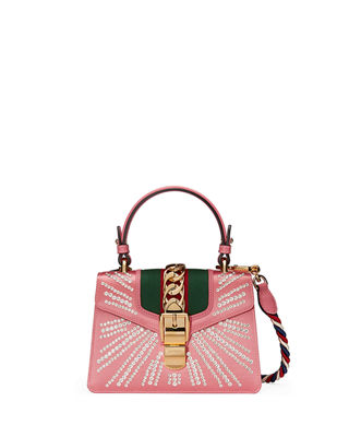Mini Sylvie Crystal Burst Top Handle Leather Shoulder Bag - Pink