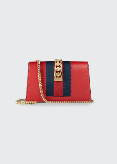Sylvie Super Mini Leather Wallet on a Chain