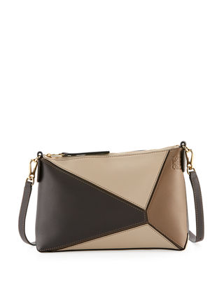Mini Puzzle Calfskin Leather Crossbody Bag - Brown, Taupe