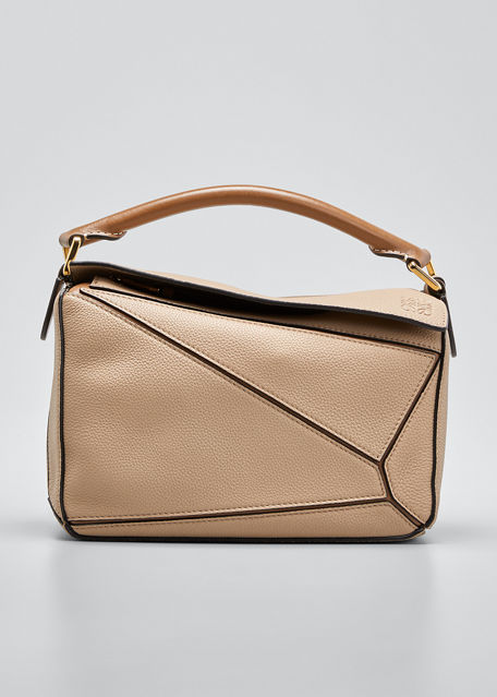 Loewe Puzzle Small Leather Satchel Bag In Sand
