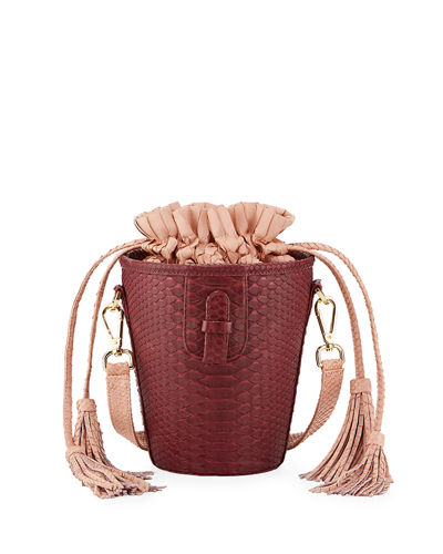 Chechi Python Drawstring Bucket Bag