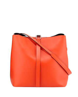 Frame Leather Shoulder Bag - Orange, Pink/Black