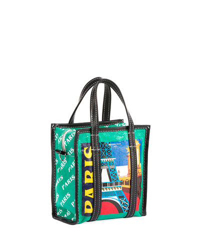 c18243b7ac9 Balenciaga Bazar Shopper Extra-Small Paris-Print Tote Bag