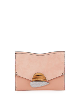 Small Curl Leather & Suede Clutch Bag, Blush