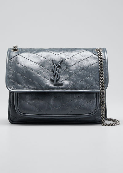34194b6352 Saint Laurent Niki Medium Monogram YSL Shiny Waxy Quilted Shoulder Bag