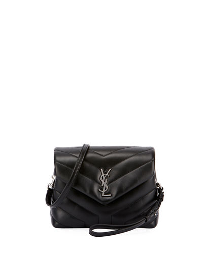 Loulou Monogram YSL Mini V-Flap Calf Leather Crossbody Bag - Nickel Oxide Hardware
