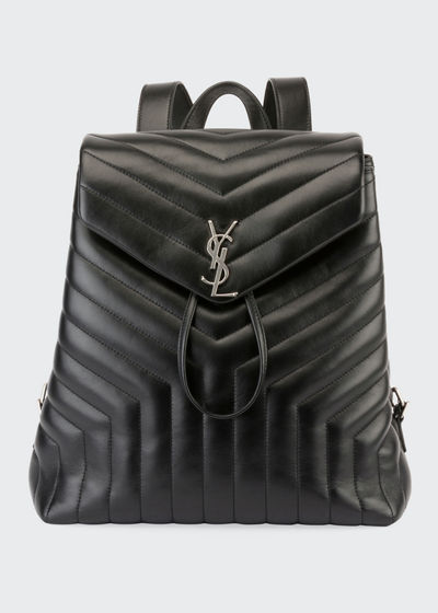 Loulou Monogram YSL Medium Quilted Leather Backpack