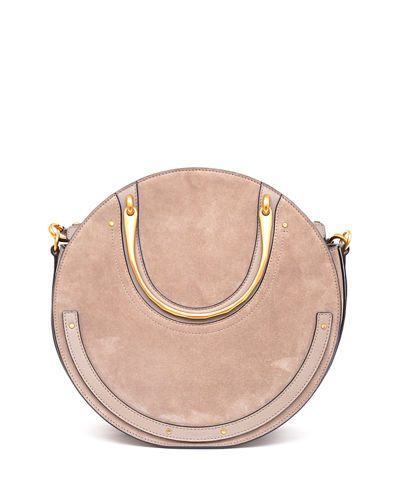 Pixie Medium Round Suede/Leather Shoulder Bag