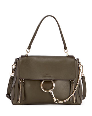 CHLOÉ FAYE DAY SMALL PEBBLED RING SHOULDER BAG