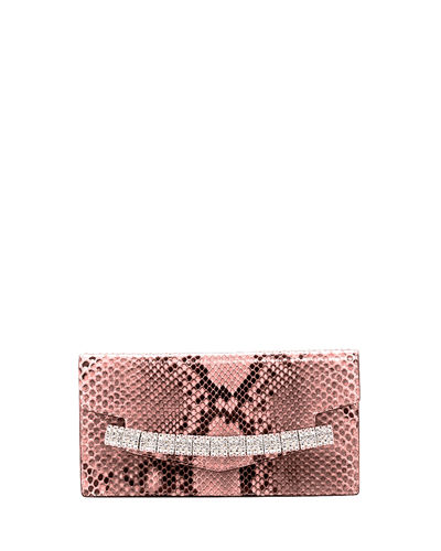 Crystal-Embellished Python Clutch Bag
