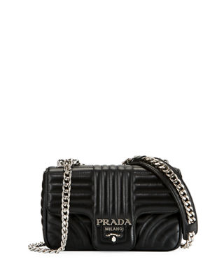 PRADA Small Diagramme Shoulder Bag With Chain Strap, Black