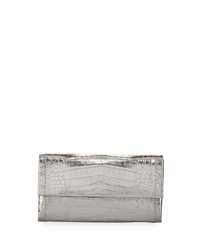 Simple Crocodile Flap Clutch Bag