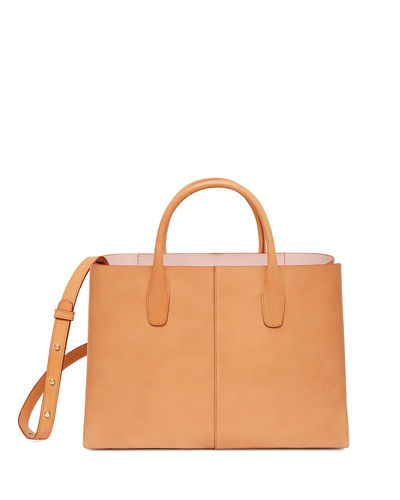 Large Folded Vegetable-Tanned Leather Shoulder Bag