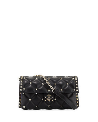 Black Candy Medium Stud Embellished Leather Shoulder Bag