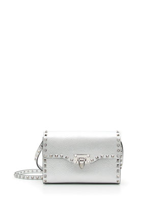 ROCKSTUD MEDIUM METALLIC LEATHER CROSSBODY BAG - METALLIC