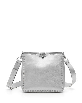 SMALL ROCKSTUD METALLIC LEATHER HOBO - METALLIC
