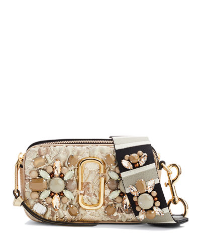 Snapshot Beaded Brocade Camera Crossbody Bag