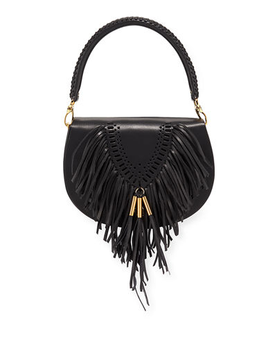 Leather Tooling and Fringe Flap Crossbody Bag