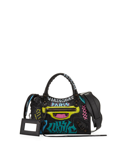 Mini City Graffiti-Print Satchel Bag