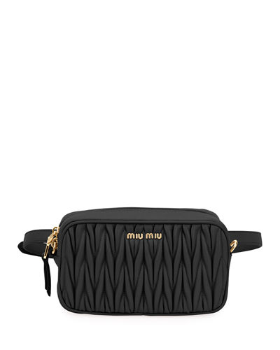 0707f7fcb61b Matelasse Leather Belt Bag Quick Look. BLACK. Miu Miu