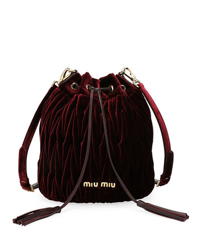 Matelassé Velvet Drawstring Bucket Bag