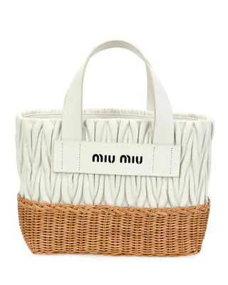 Miu Miu Matelasse Leather & Wicker Tote Bag V0JP2mj